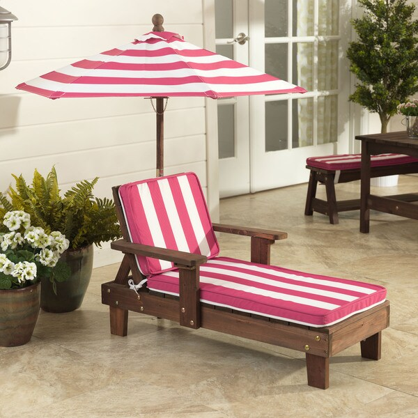 KidKraft Pink/ White Outdoor Chaise Lounger