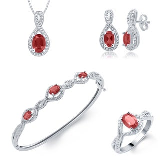 Divina Rhodium over Brass Ruby and Diamond Accent 4-piece Jewelry Set (I-J, I2-I3)