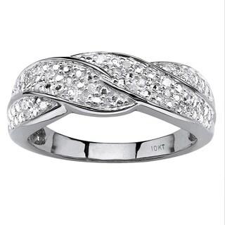 PalmBeach 10k Gold 1/10ct TDW Round Diamond Twisted Ring (H-I, I2-I3)