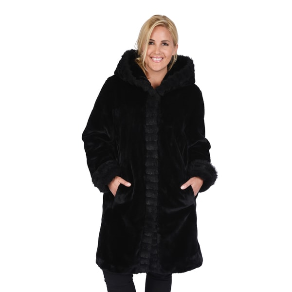 Excelled Women's Plus Faux Fur 3/4 Length