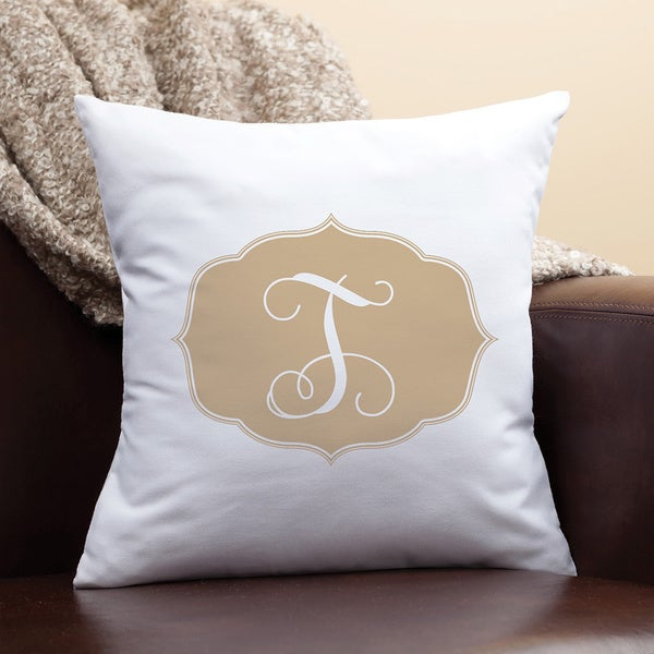 My Beige Initial Personalized Pillow