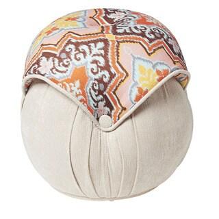 Jennifer Taylor Brown Orange Round Pouf Ottoman