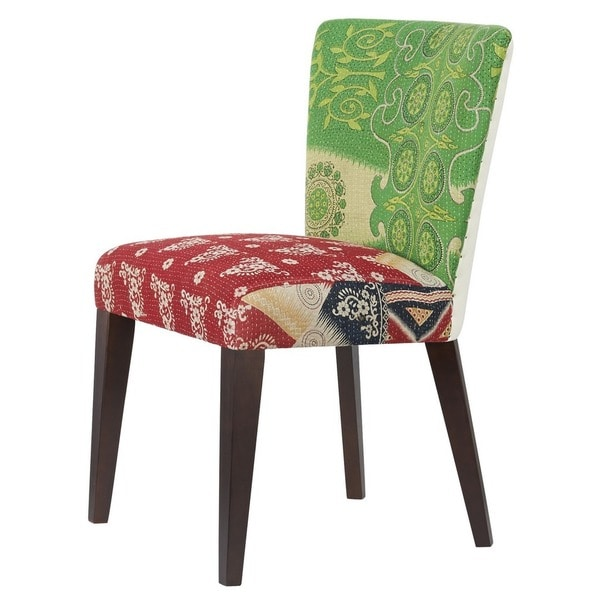 Jennifer Taylor Green/ Red Abstract Kantha Tall Chair