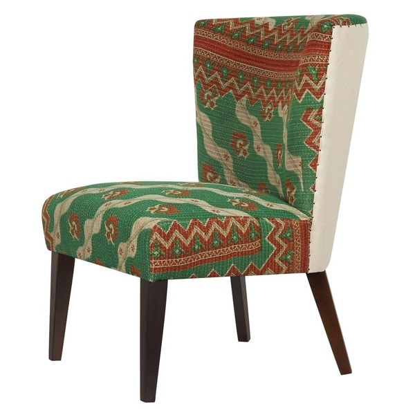 Jennifer Taylor Green/ Red Kantha Arm Chair