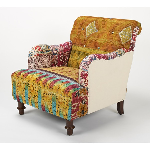 Jennifer Taylor Multi-colored Yellow Mixed Patterned Kantha Arm Chair