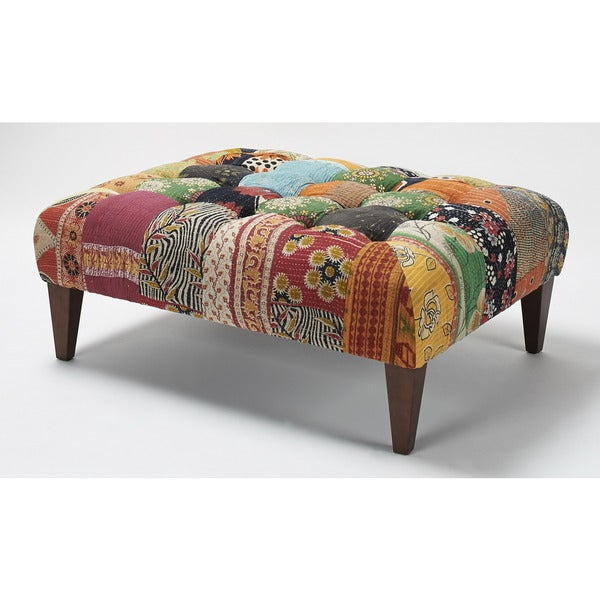 Jennifer Taylor Multi-colored Patterned Square Bench