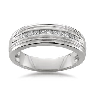 Montebello Platinum Men's 1/2ct TDW Diamond Wedding Band (G-H, VS1-VS2)