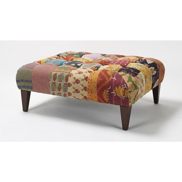 Jennifer Taylor Multi-Patterned Floral Square Bench