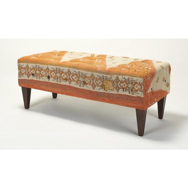 Jennifer Taylor Orange/ Off-white Tufted Bench