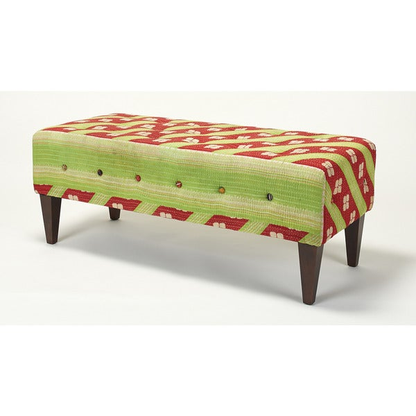 Jennifer Taylor Lime Green/ Red Tufted Bench