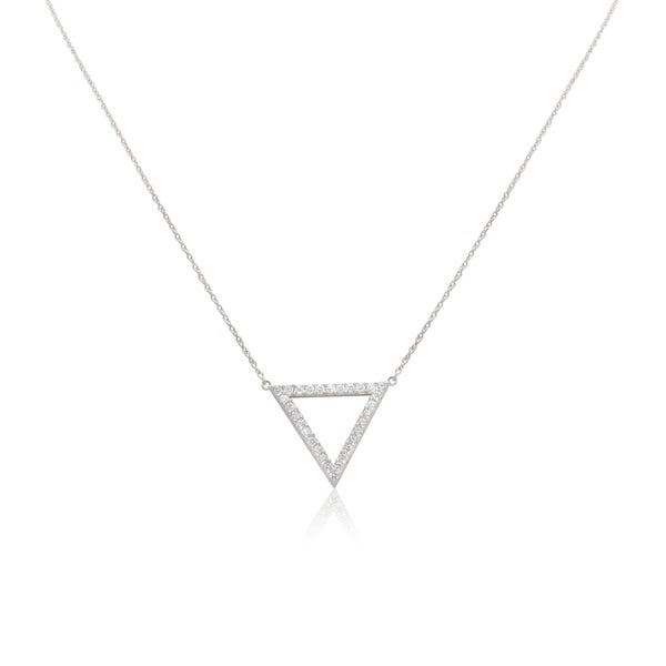 Gioelli 10k White Gold Cubic Zirconia Pyramid Necklace