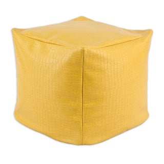 Glade Runner Yellow 12.5-inch Square KE Beads Hassock Pouf