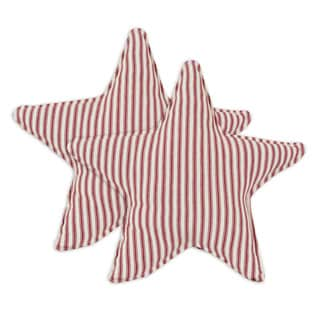 Stripe Red Star Shaped 13-inch Throw Pillow (Set of 2)