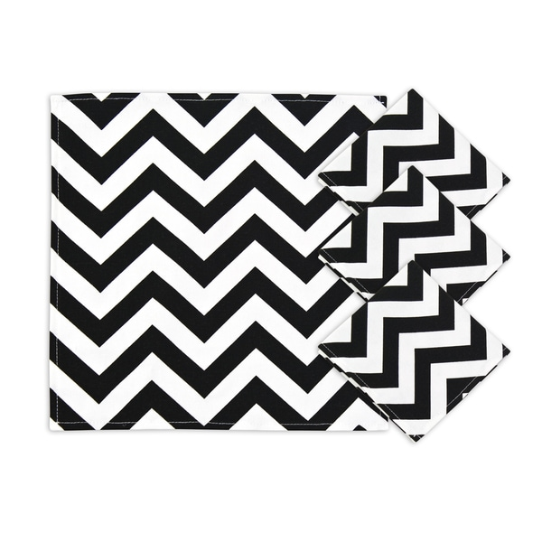 Zig Zag Black Napkins (Set of 4)