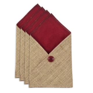 Burlap Natural VL Crimson Table Setting with Burgundy Button (Set of 4)