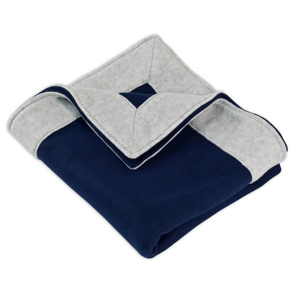 Fleece Navy Simply Soft Throw with 3-inch Mitered Light Grey Edge