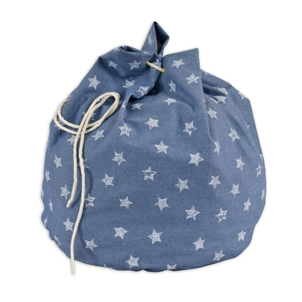 Denim Stars 20-inch Round Laundry Bag with Grommets