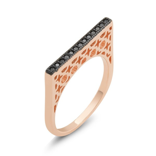 Rose Goldplated Sterling Silver Black Cubic Zirconia Bar Ring