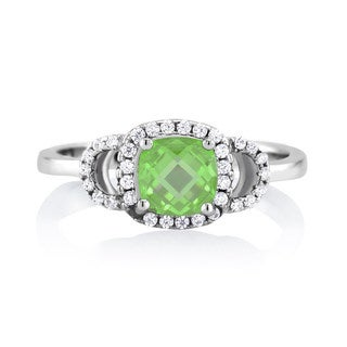 Sterling Silver Emerald-colored Cubic Zirconia May Cushion-cut Birthstone Ring