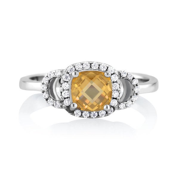 Sterling Silver Citrine Cubic Zirconia November Cushion-cut Birthstone Ring