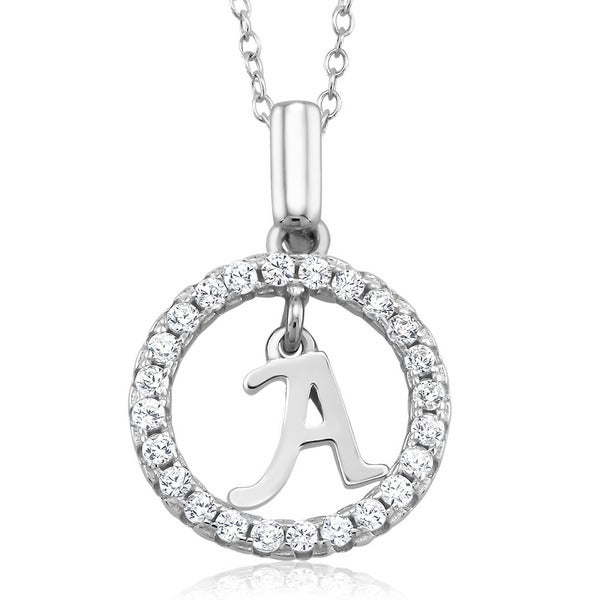 Rhodium-plated Sterling Silver Cubic Zirconia Open Circle Initial Necklace