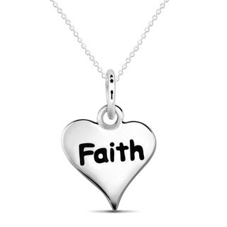 Sterling Silver Heart 'Faith' Necklace