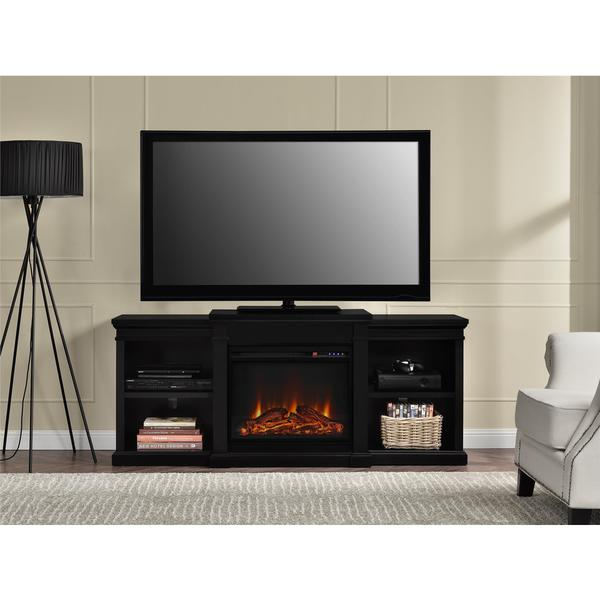 altra manchester 70 inch fireplace tv console with side shelves. Black Bedroom Furniture Sets. Home Design Ideas