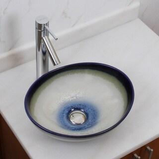 Elite 1555+2659 Oval Multicolor Glaze Porcelain Ceramic Bathroom Vessel Sink with Faucet Combo