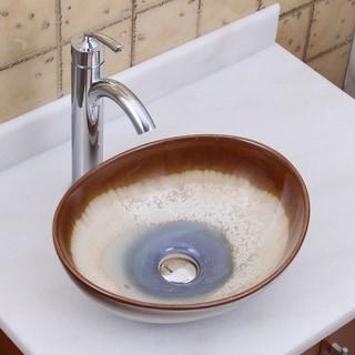 Elite 1554+882002 Oval Multicolor Glaze Porcelain Ceramic Bathroom Vessel Sink with Faucet Combo