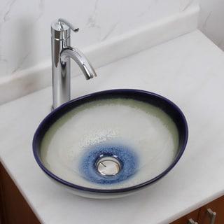 Elite 1555+882002 Oval Multicolor Glaze Porcelain Ceramic Bathroom Vessel Sink with Faucet Combo