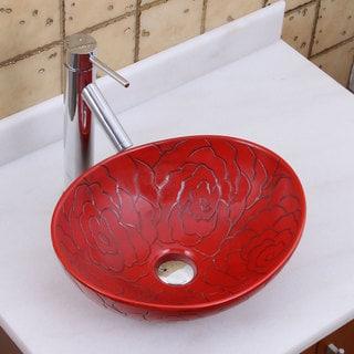 Elite 1557+2659 Oval Red Rose Porcelain Ceramic Bathroom Vessel Sink with Faucet Combo