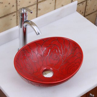 Elite 1557+882002 Oval Red Rose Porcelain Ceramic Bathroom Vessel Sink with Faucet Combo