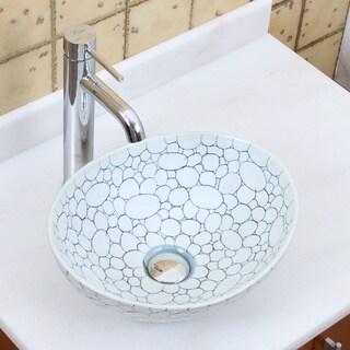 Elite 1558+F371023 Oval Cobblestone Pattern Porcelain Ceramic Bathroom Vessel Sinkk with Faucet Combo