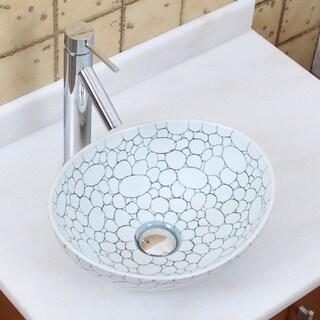 Elite 1558+2659 Oval Cobblestone Pattern Porcelain Ceramic Bathroom Vessel Sink with Faucet Combo