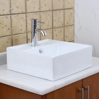 Elite 9978+F371024 Temperature Grade a Ceramic Bathroom Sink with Faucet Combo