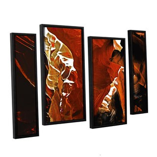 ArtWall Linda Parker 'Slot Canyon Light From Above 6' 4 Piece Floater Framed Canvas Staggered Set
