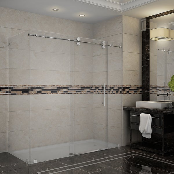 Aston Langham 72-inch x 35-inch x 75-inch Completely Frameless Sliding Shower Enclosure