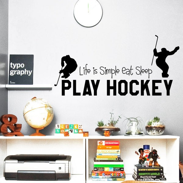 Eat Sleep Play Hockey Vinyl Sticker Wall Art