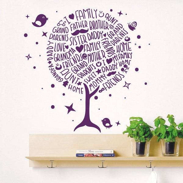 Family Tree Purple Vinyl Sticker Wall Art