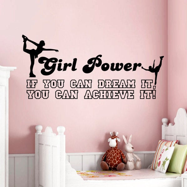 Girl Power Figure Skating Vinyl Sticker Wall Art
