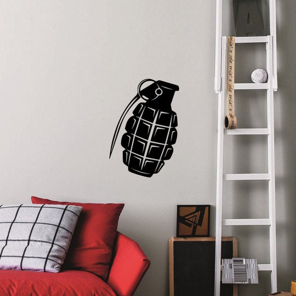 Grenade Frag Explosive Military Weapons Vinyl Wall Art Decal Sticker