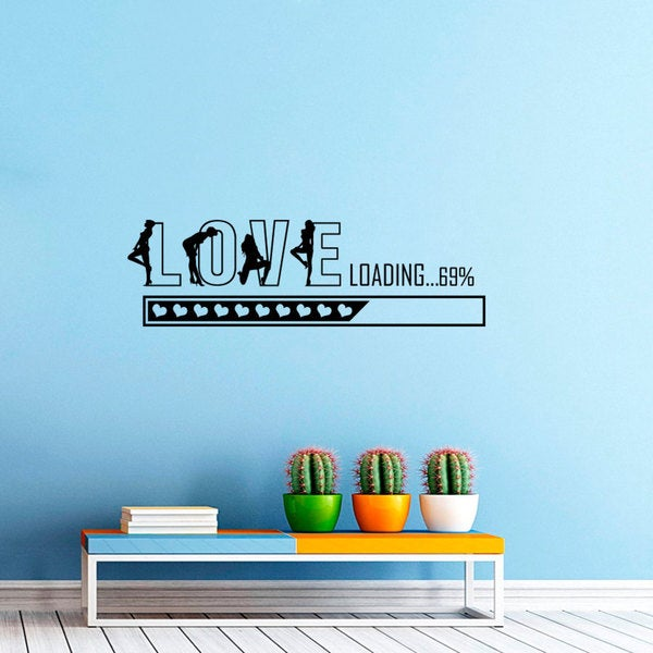 Love Loading Heart Romantic Girls Vinyl Wall Art Decal Sticker