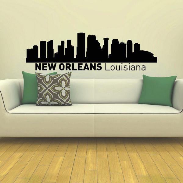 New Orleans Skyline City Silhouette Vinyl Wall Art Decal Sticker