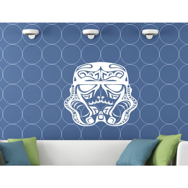 Abstract Storm Trooper Helmet Star Wars White Vinyl Sticker Wall Art