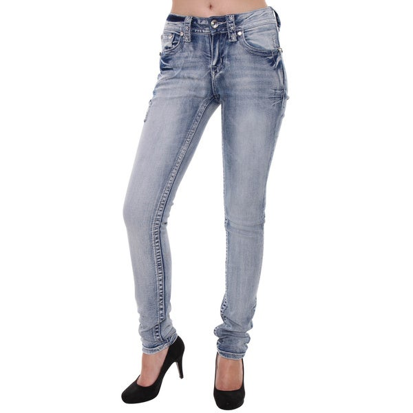 Sexy Couture Women's S125-PS Mid Rise Acid Light Distress Skinny Stretch Jeans