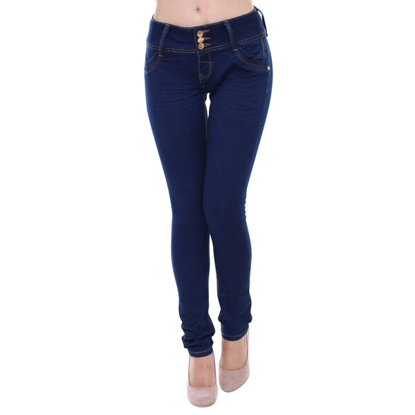 Sexy Couture Women's S118-PS Mid Rise Regular Skinny Stretch Jeans