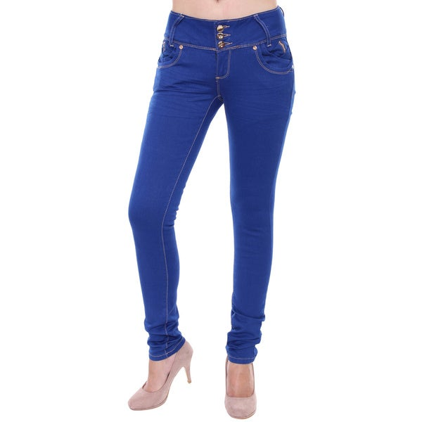 Sexy Couture Women's S116-PS Mid Rise Denim Skinny Stretch Jeans