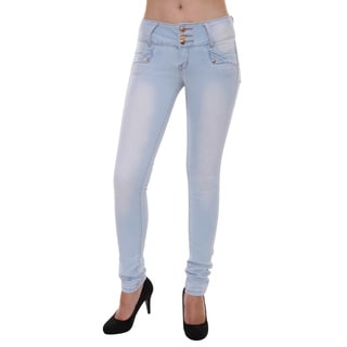 Sexy Couture Women's S112-ps Mid Rise Light Distress Skinny Stretch Jeans