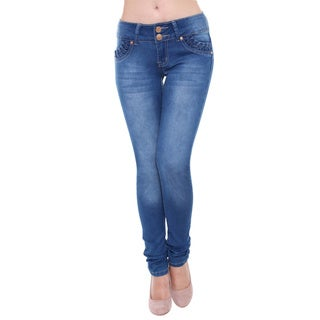 Sexy Couture Women's S104-PS Mid Rise Light Distress Skinny Stretch Jeans