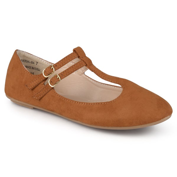 Journee Collection Women's 'Valerian' Comfort Sole T-strap Ballet Flats